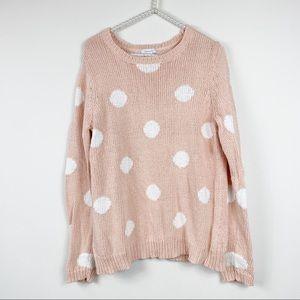 Garnet hill women's large sweater pink polka dot